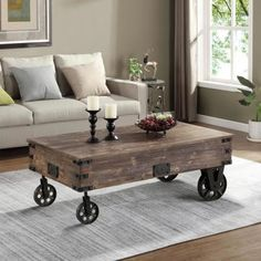 FirsTime & Co. 45 in. Factory Cart Espresso Coffee Table 70084 - The Home Depot Espresso Coffee Table, Cart Coffee Table, Coffee Table Wayfair, Rustic Coffee Tables, Coffee Table Design, Coffee Coffee, Coffee Break, Coffee Cake, Coffee Table With Casters