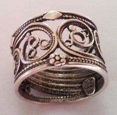 Anneau bague argent 925 Filigrane . Sterling silver ring set  filigree handcrafted  by Bluenoemi