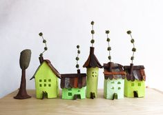 Small village in pastel greens Miniature. by Intres on Etsy, $35.00