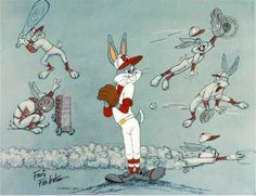 """Regardless of the game, Bugs Bunny comes to play, at least in his own way. Famed animation director, Friz Freleng makes the viewer certain of Bugs' baseball talent – or lack there of – by creating hilarious sketches of the rabbit in action on the field of play. These surround a larger image of Bugs preparing to throw one of his diabolical pitches. """"Baseball Bugs"""" is a hand-painted cel which background features original drawings by Friz Freleng. #Freleng #Bugs #Wildsville"""