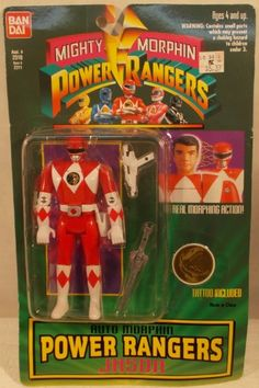 "Mighty Morphin Power Rangers 5"" Auto Morphin Jason Red (MOC) http://www.ebay.ca/usr/collectiblesbycandb"