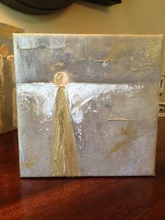 5x5x1.5 Contemporary Angel on Gallery Wrapped Canvas