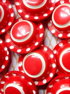 Vintage French Cherry Red and White Buttons