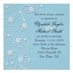 Luxury Elegant White Swirls Blue Wedding Invite