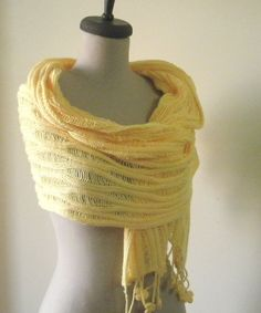 Knitting Shawl Stole Wrap! Yellow Warm Cozy Very Soft New Design ! Classy Crocheted Lace Shawl Crochet Wrap! Yellow Bridal Wrap Scarf Stole ! Warm Cozy Very Soft New Design !    % 100 Micro Dralon Acrylic  All of sizes will fit S ,M, L, XL    Keep up with the fashion trends and make them work for you with filofashion!   Approximate Measurements / Size;    Length : 60 inches ( 180 cm ) Width : 32 inches ( 45 cm )