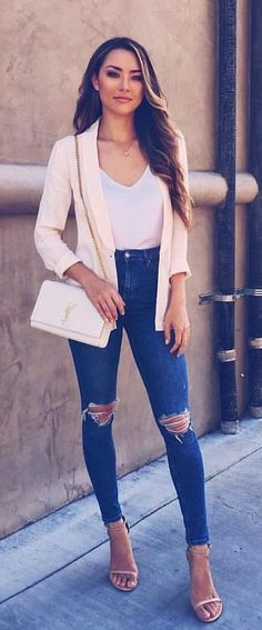#fall #outfits women's white blazer, top, bag and denim fitted jeans