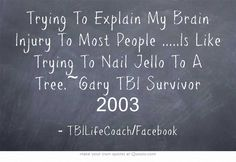 Trying To Explain My Brain Injury To Most People .....Is Like Trying To Nail Jello To A Tree.~Gary TBI Survivor 2003
