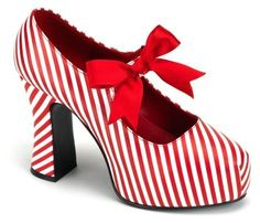 Adult Candy Cane Heels with Red Bow Shoes - Costume Shoes Sexy High Heels, Womens High Heels, Womens Flats, Bow Shoes, Me Too Shoes, Shoes Heels, Dress Shoes, Candy Cane Costume, Striped Shoes