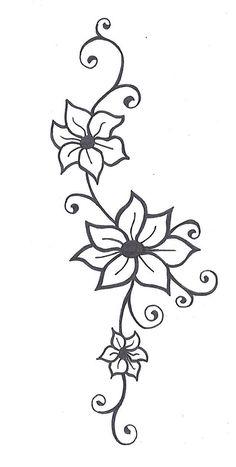 Flower With Vines Tattoo Flower Tattoos Jasmine Flower Tattoos And Flower Tattoo Designs - Tattoo Art Design ideas Jasmine Flower Tattoos, Flower Vine Tattoos, Flower Tattoo Designs, Henna Designs, Flower Designs, Tattoo Flowers, Henna Flowers, Daisies Tattoo, Vine Foot Tattoos