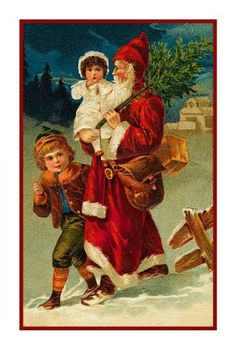 Victorian Father Christmas Santa St Nick Carrying Children Counted Cross Stitch or Counted Needlepoint Pattern