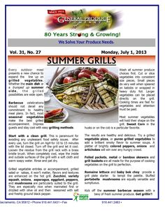 Summer Grills. How do you grill vegetables? Great ideas in our Market Report!