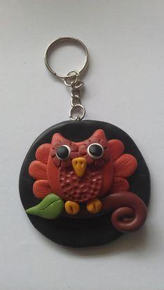 Fimo owl keyring by Skye