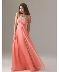 $90.... Floor-length Zip Beading Halter A-line Chiffon Prom Dress