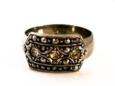 Silver 3 Stone Diamante Ring     Size 9 3/4 by GemstoneCowboy on Etsy