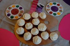 Cupcakes on artist palette and sprinkle palettes (and lots of other art party ideas)