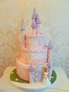 Pink princess castle novelty cake