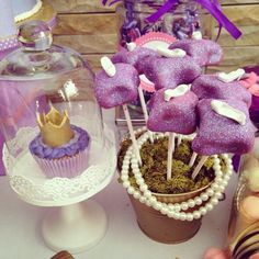 Cake pops with princess slippers and gorgeous cupcakes with crowns