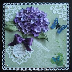 """Used  Heartfelt Creations stamps, HCPC 3301 """"Hydrangea/Posy Branch PreCut Set"""".  In order to make the hydrangea dimensional, I stamped a lot of the smallest posy from the HCPC 3303 """"Posy Patch Flowers PreCut Set"""".  3 different shades of purple and stamped with purple ink.    flowers cut out with the matching Posy Patch Dies  Two hydrangea images stamped on white card stock and colored with Copic markers"""