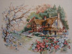 The listing is for handcrafted finished embroidery Cross stitch picture of Cottage Enchantment (Domension Collection).    It is perfect for decorat...