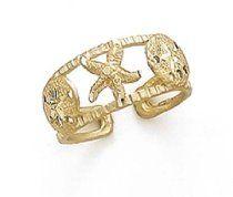 14k Seashore Toe Ring - JewelryWeb