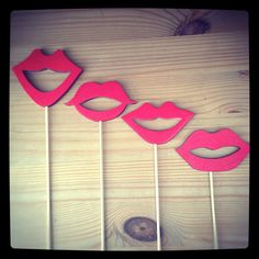 Hand Painted Wooden Lips on Sticks Photo Booth Props (4 per Set)
