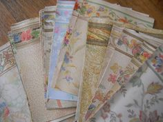 1930's Wallpaper Samples - This is a group of 47 wallpaper pieces from the 1935 Montgomery Ward sample book.