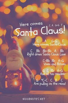 music notes for newbies: here-comes-santa-claus-christmas-music-letter-notes. Play popular songs and traditional music with note letters for easy fun beginner instrument practice - great for flute, piccolo, recorder, piano and Piano Sheet Music Letters, Clarinet Sheet Music, Easy Piano Sheet Music, Saxophone, Band Nerd, Disney Sheet Music, Christmas Piano Music, Trumpet Sheet Music, Music Mood