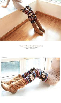 Korea Fashion Stylish Snowflake Patterens Colorful Stripes LeggingsLeggings | RoseGal.com