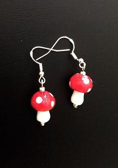 Toadstool Earrings  Fairy Earrings  Red Earrings  by ME2UDezignz