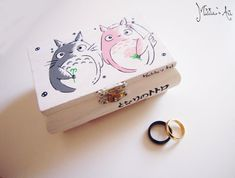 Title: Studio Ghibli hand painted boxes series / Totoro newlyweds Box / Wedding ring Box