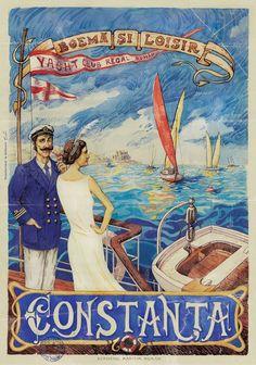 Yacht Club Regal Român, fondat în anul 1921 sub patronajul Casei Regale. Vintage Travel Posters, Vintage Postcards, Vintage Ads, Nautical Art, Iphone Background Wallpaper, Advertising Poster, Retro Art, Belle Epoque, Strand