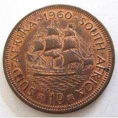 A 1960 UNION OF SOUTH AFRICA PENNY--EF-UNC Union Of South Africa, Banks Vault, Valuable Coins, Coin Values, Coins For Sale, Old Coins, African History, Landscape Photography, Trains