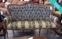 Antique Sofa - Antique Parlor Floral Sofa - On Sale for $539.95 (was $599.95) | Too Good To Be Threw Designer Consignments - San Antonio, TX