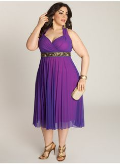 Victoria Plisse Plus Size Dress - Evening Dresses by IGIGI - I'd want to get a tailor to replace that gaudy gold belt detail, but I love the fabric.