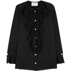Gucci Black ruffled silk georgette blouse (13.618.380 IDR) ❤ liked on Polyvore featuring tops, blouses, frill blouse, ruffle blouse, flounce sleeve blouse, pleated sleeve blouse and flounce tops