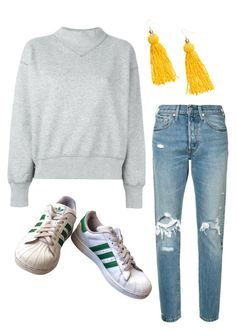 """Yellow earrings"" by trendsy on Polyvore featuring Levi's, Étoile Isabel Marant, adidas and H&M"