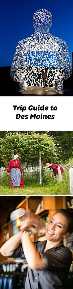Highlights of a trip to Des Moines include the art museum and sculpture park, Living History Farms, Adventureland Park, and a thriving restaurant scene. Trip guide: http://www.midwestliving.com/travel/iowa/des-moines/des-moines-trip-guide/
