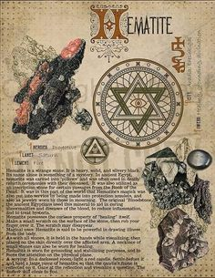 Astrology Discover Book of Shadows Printable pages of Crystals and Minerals Witchcraft BOS Sheets Magic Potion Spell Ingredient Witch encyclopedia 7 DIY sketchbook hematite Wiccan Spells, Magick, Witchcraft, Wiccan Witch, Crystals And Gemstones, Stones And Crystals, Herbal Magic, Crystal Magic, Crystal Meanings