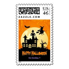 Moonlight Haunted House in Graveyard - Halloween Postage Stamps