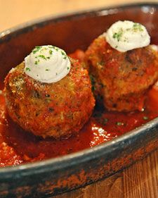 Basic meatballs become dinner party fare when stuffed with rich, creamy ricotta cheese in this recipe from Apizz chef John LaFemina.