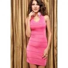 $10.55 Sexy Style Scoop Neck Multi-Layered Zipper Up Cross Ribbon Design Slimming Dress For Women