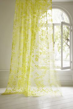 Sheer lace in neon yellow  #home #accent #curtains