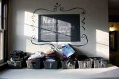 love the chalk board paint & definition