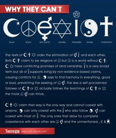 Why they can't coexist. These bumper stickers, while well intentioned, completely ignore the problems religion causes. brilliantly put. The only ones that allow for complete coexistence with each other are peace, atheism, and humanism. Anti Religion, Ego, Taoism, Question Everything, We Are The World, Bumper Stickers, Christianity, Spirituality, Politics
