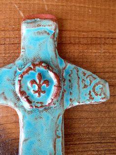 Fleur-de-lis Pottery Crosses #claycrosses #ceramic #handmade