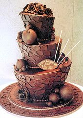 Tiered Topsy Cake with Chocolate Mosaic & Chocolate Balls by Rosebud Cakes Chocolate Delight, I Love Chocolate, Chocolate Lovers, Melting Chocolate, Italian Chocolate, Chocolate Cakes, Chocolate Ganache, White Chocolate, Pretty Cakes