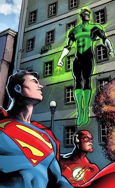 Juan Ferreyra Superman, Green Lantern and Flash Joker Dc Comics, Dc Comics Superheroes, Dc Comics Characters, Dc Comics Art, Green Lantern Comics, The New Teen Titans, Green Lantern Hal Jordan, Dc World, Action Comics 1