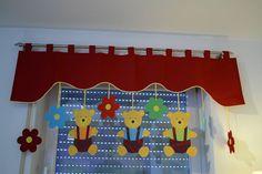 Vorhang Querbehang Fensterdeko Kinderzimmer Motiv rot 140 - 180cm Handarbeit.