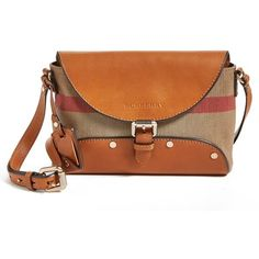 Burberry Brit 'Henham - Small' Crossbody Bag Saddle Brown (15.825 RUB) found on Polyvore