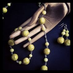 #fimo #beads #yellow #gold foil #parure